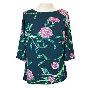 Anthro HD in Paris Teal Pink Eira Floral Blouse 2